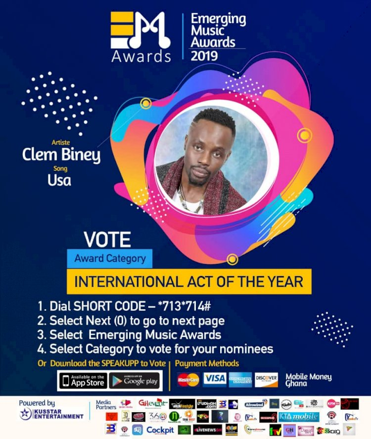VOTE CLEM BINEY as INTERNATIONAL ACT OF THE YEAR (Emerging Music Awards 2019)